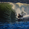 Painting of Greg Brennan Body Boarding in Ireland painted by his lovely wife Caitlin.